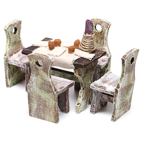 Table with 4 chairs for Nativity scene of 12 cm 10x5x5 cm 6