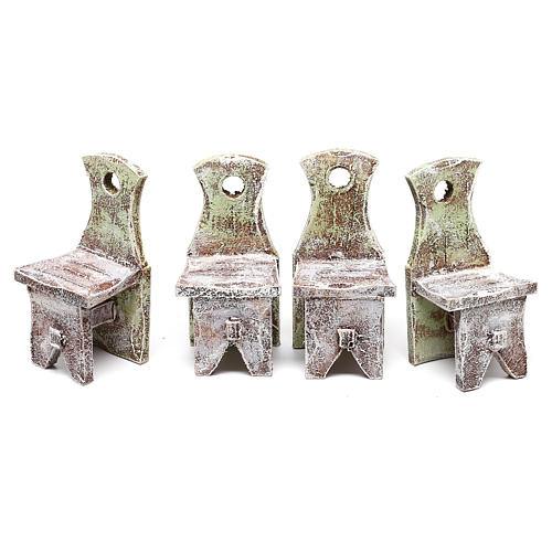 Table with 4 chairs for Nativity scene of 12 cm 10x5x5 cm 7