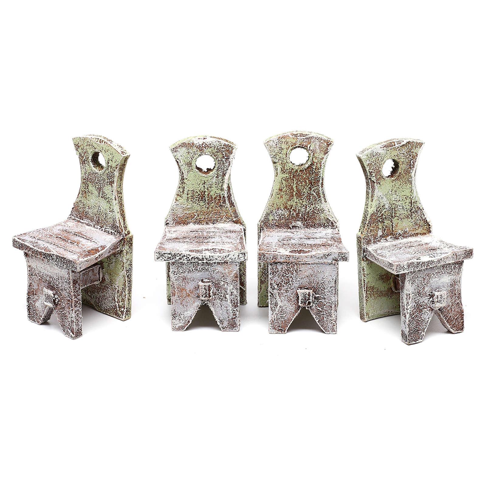 Mesa con 4 sillas para belén de 12 cm 10x5x5 cm 4
