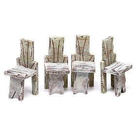 Mesa con 4 sillas para belén de 12 cm 10x5x5 cm s3