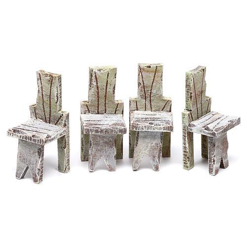 Mesa con 4 sillas para belén de 12 cm 10x5x5 cm 3