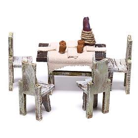 Acessórios de Casa para Presépio: Mesa com 4 cadeiras miniaturas 10x5x5 cm para presépio com figuras de 12 cm de altura média