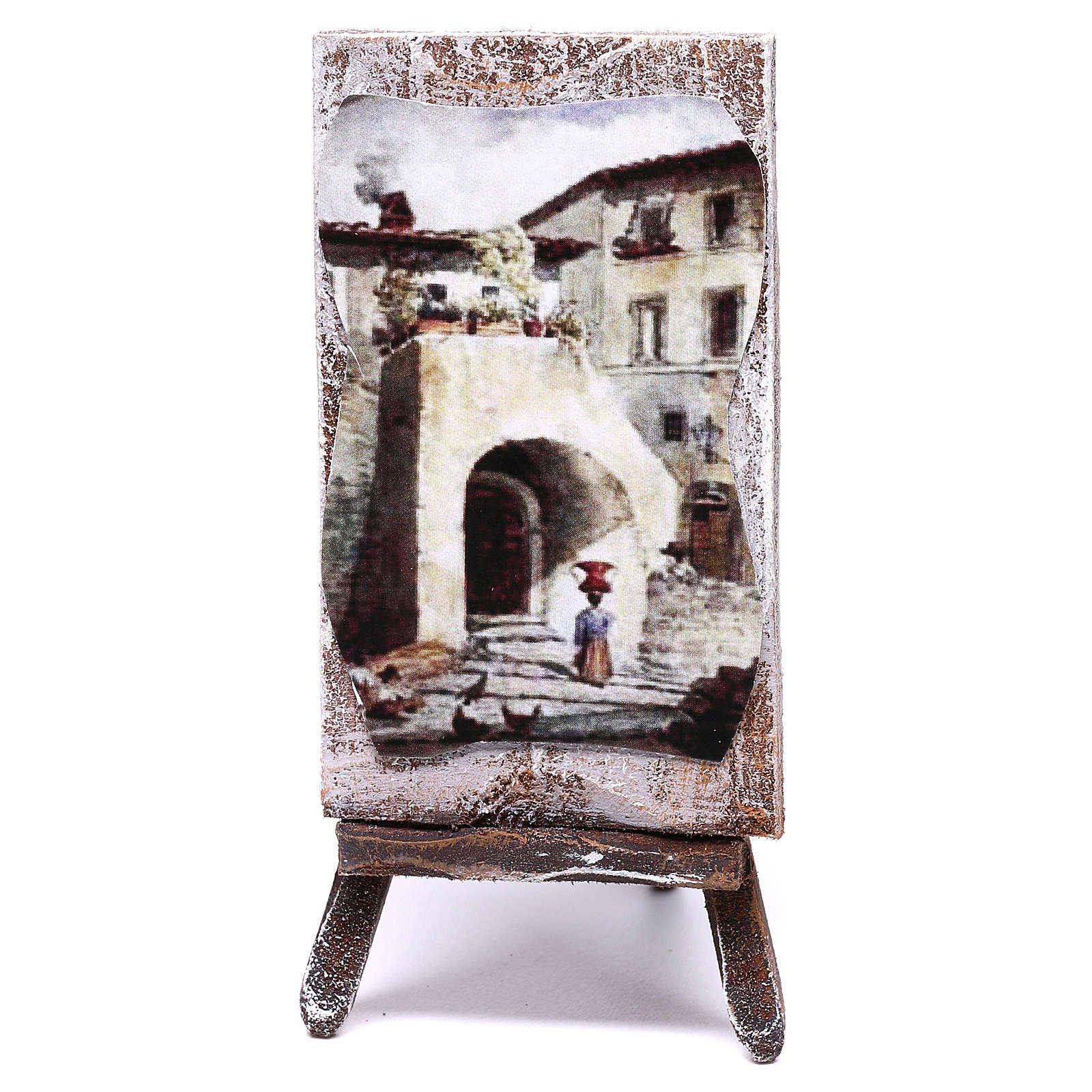 Easel with canvas, for 10 cm nativity 10x5x5 cm 4