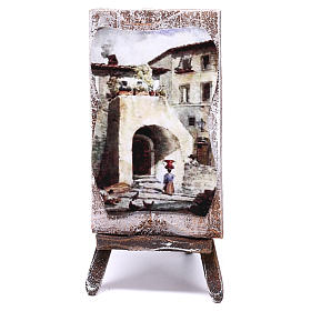 Easel with canvas, for 10 cm nativity 10x5x5 cm s1