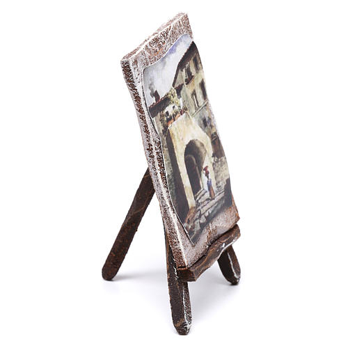 Easel with canvas, for 10 cm nativity 10x5x5 cm 2
