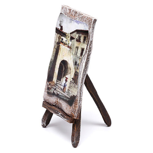Easel with canvas, for 10 cm nativity 10x5x5 cm 3