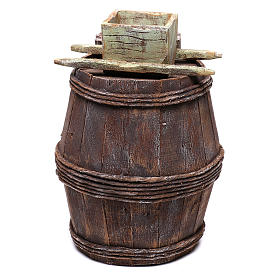 Barrel with grape grinder for Nativity scene of 10 cm 15x10x10 cm s4