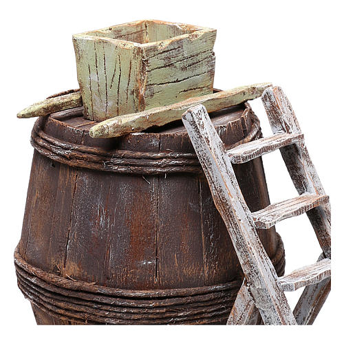 Barrel with grape grinder for Nativity scene of 10 cm 15x10x10 cm 2
