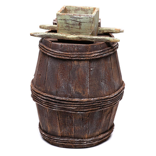 Barrel with grape grinder for Nativity scene of 10 cm 15x10x10 cm 4