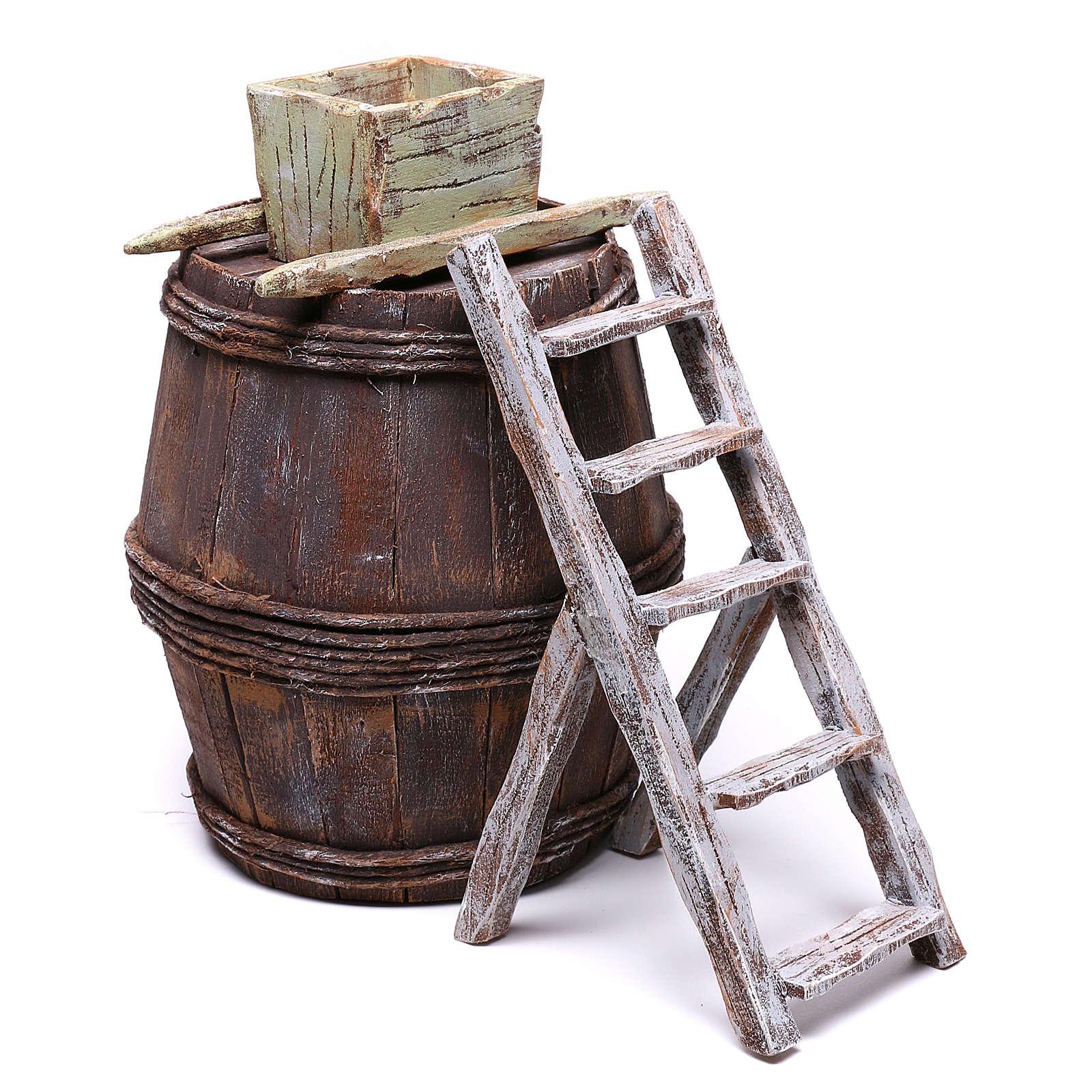 Barrel with grape machine for 10 cm nativity 15x10x10 cm 4