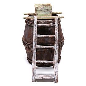 Barrel with grape machine for 10 cm nativity 15x10x10 cm s1