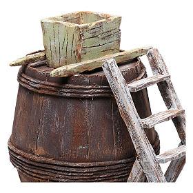 Barrel with grape machine for 10 cm nativity 15x10x10 cm s2