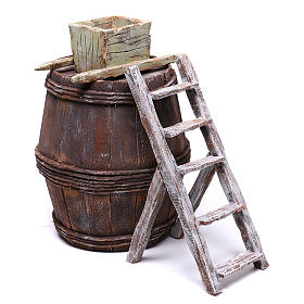 Barrel with grape machine for 10 cm nativity 15x10x10 cm s3