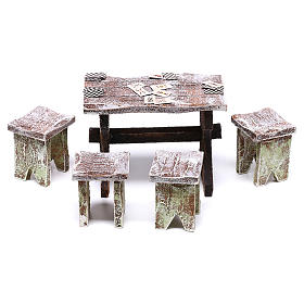 Table with cards and stools of 5x5x5 cm for Nativity scene of 12 cm s1