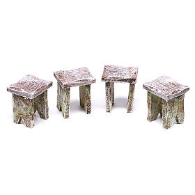 Table with cards and stools of 5x5x5 cm for Nativity scene of 12 cm s3
