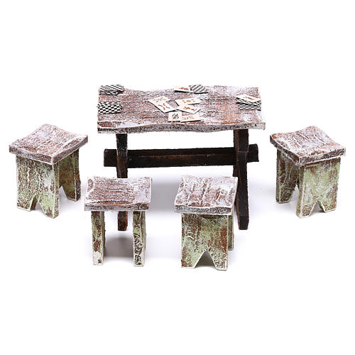 Table with cards and stools of 5x5x5 cm for Nativity scene of 12 cm 1