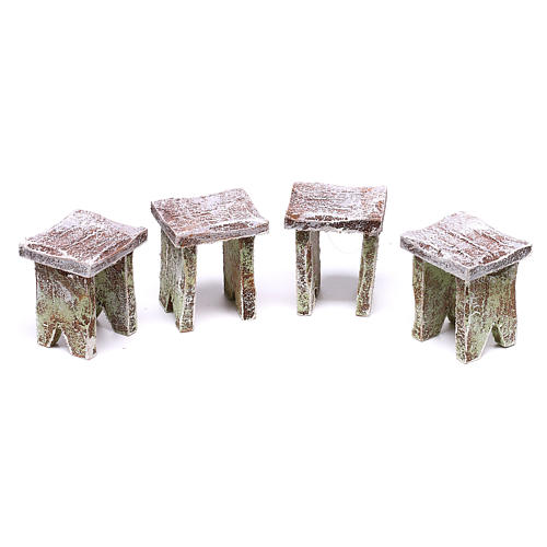 Table with cards and stools of 5x5x5 cm for Nativity scene of 12 cm 3