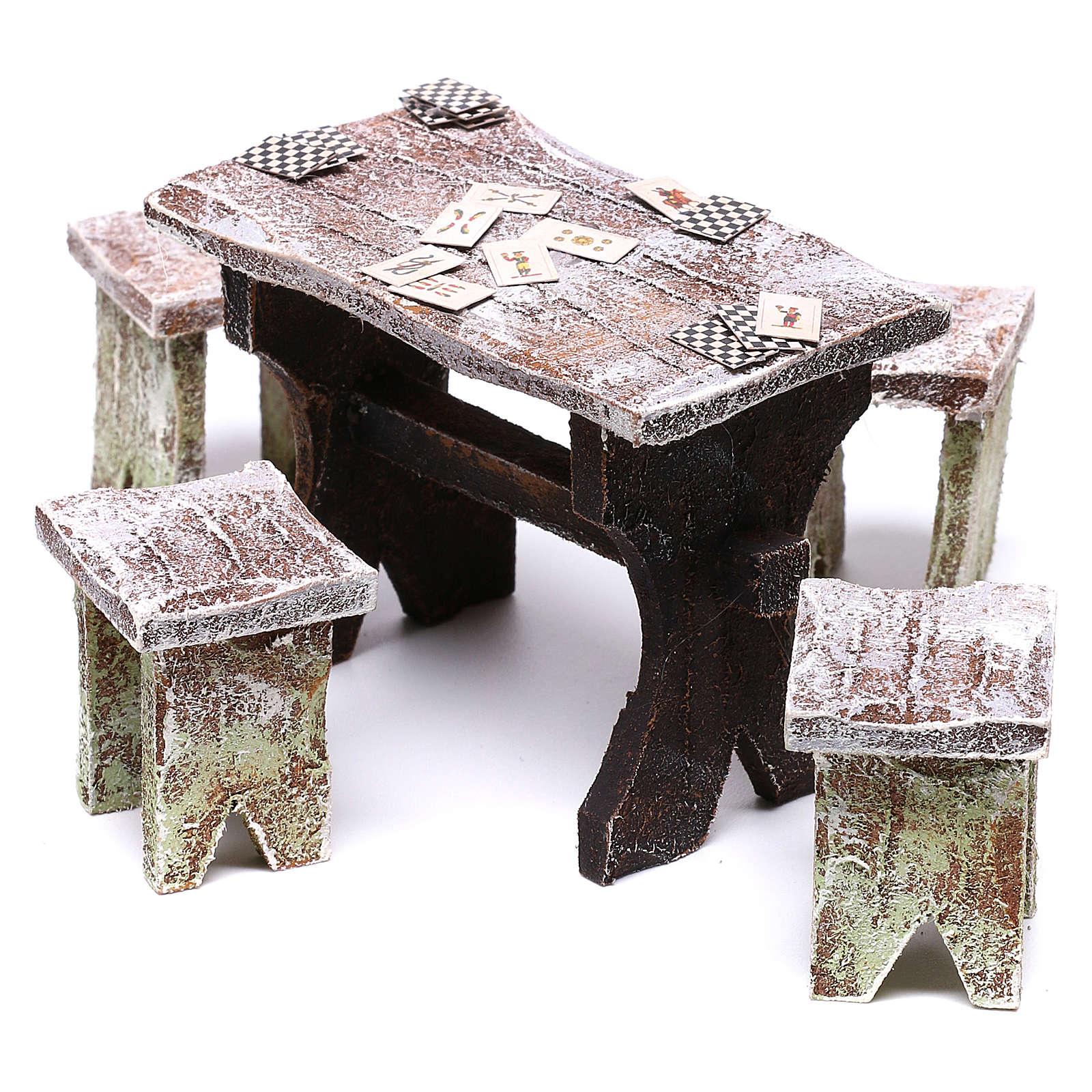 Mesa con cartas y 4 taburetes de 5x5x5 cm para belén de 12 cm 4