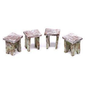 Mesa con cartas y 4 taburetes de 5x5x5 cm para belén de 12 cm s3
