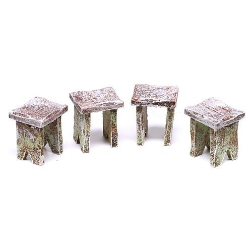 Mesa con cartas y 4 taburetes de 5x5x5 cm para belén de 12 cm 3