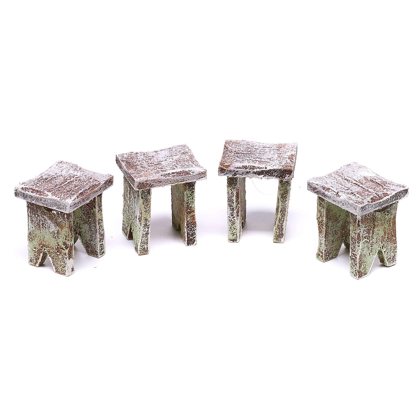 Table avec cartes et 4 tabourets 5x5x5 cm pour crèche de 12 cm 4