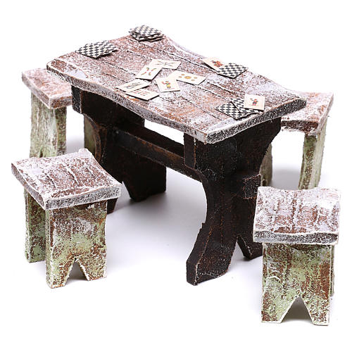 Table avec cartes et 4 tabourets 5x5x5 cm pour crèche de 12 cm 2