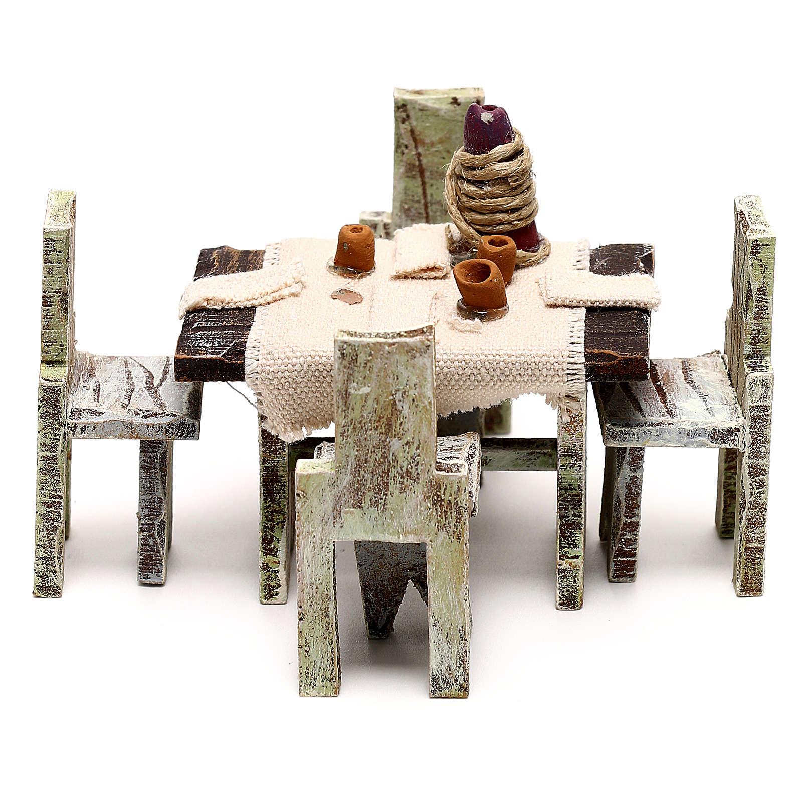 Mesa con 4 sillas para belén de 10 cm 5x5x5 cm 4