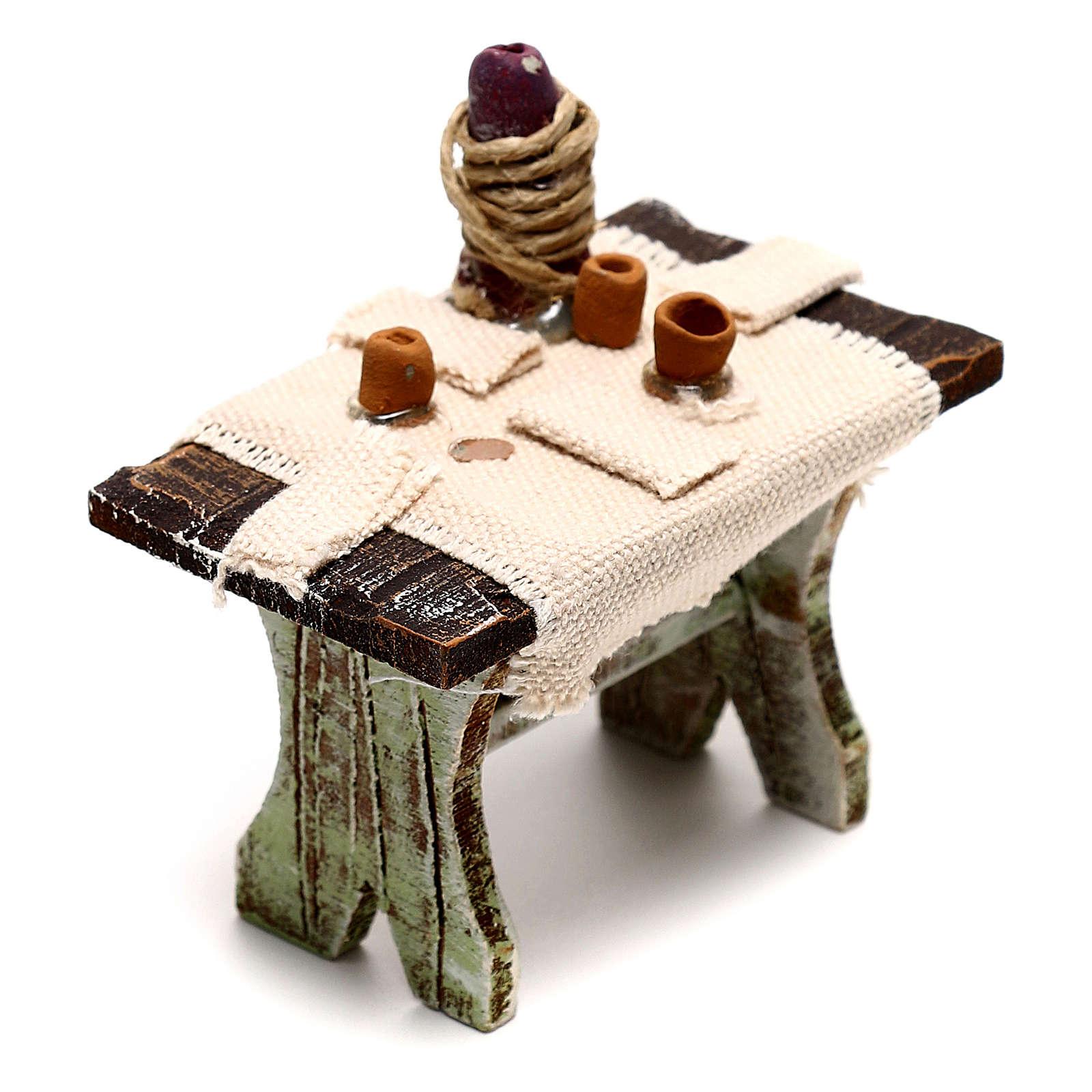 Tavolo con 4 sedie per presepe di 10 cm 5x5x5 cm  4