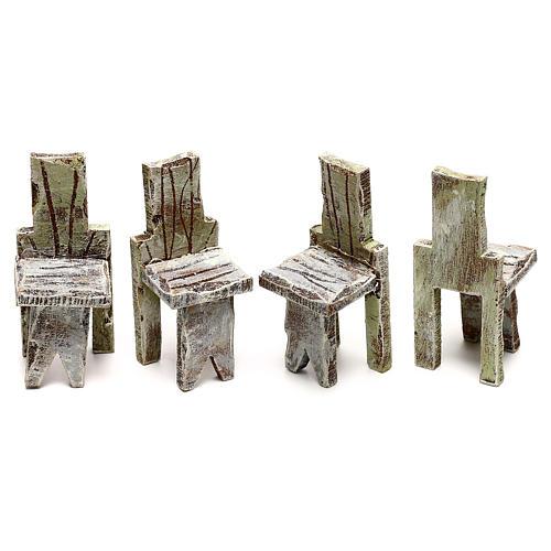 Tavolo con 4 sedie per presepe di 10 cm 5x5x5 cm  3