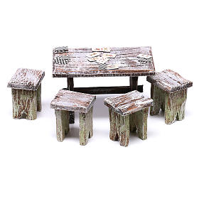 Table with cards and stools of 5x5x5 cm for Nativity scene of 10 cm s1