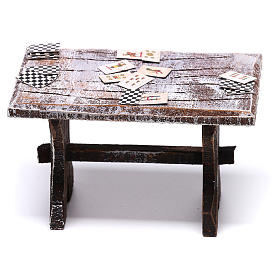 Mesa con cartas y 4 taburetes de 5x5x5 cm para belén de 10 cm s4