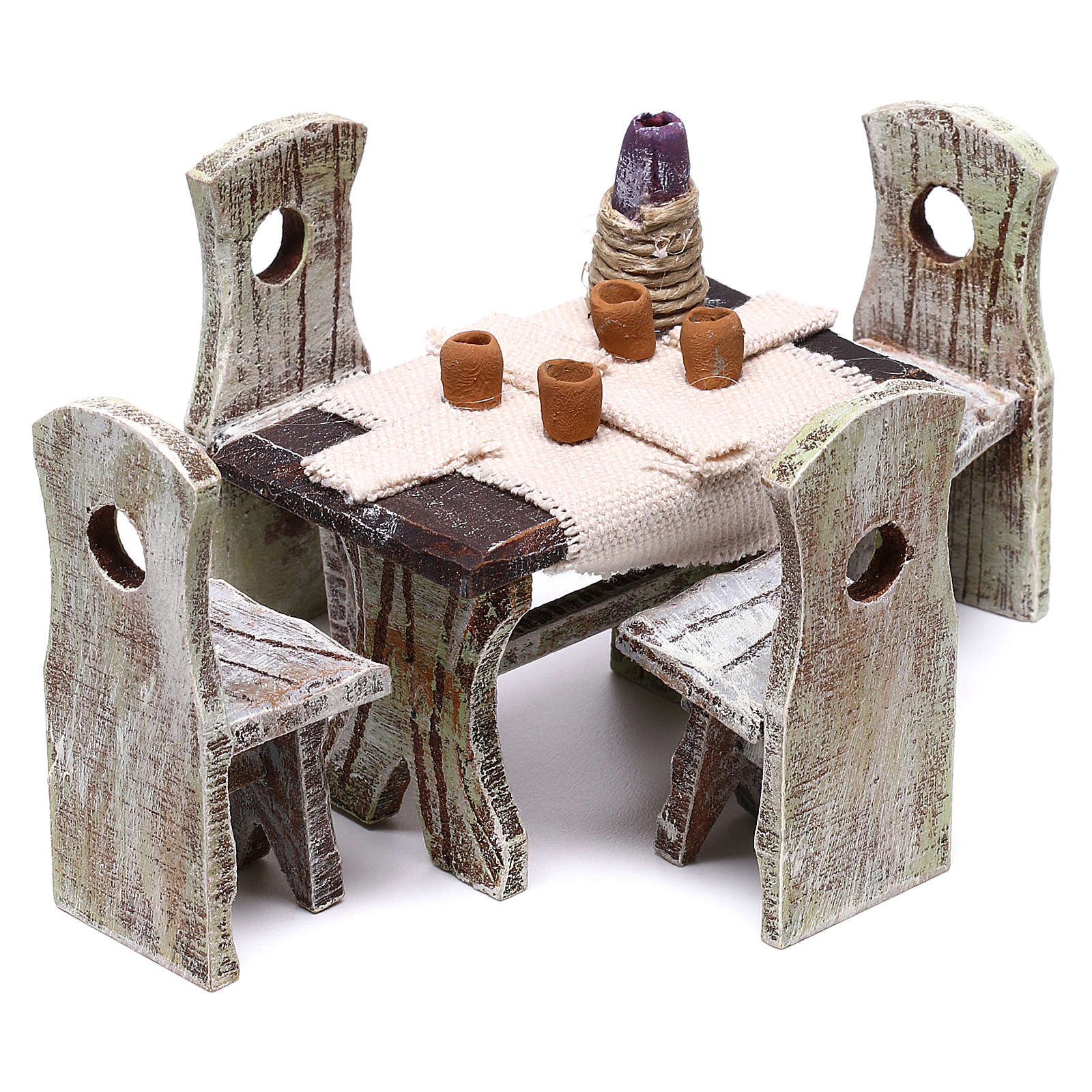 Set table with 4 chairs for Nativity scene of 10 cm 5x5x5 cm 4