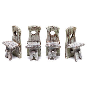 Set table with 4 chairs for Nativity scene of 10 cm 5x5x5 cm s3