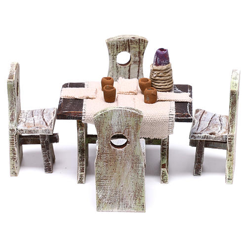 Set table with 4 chairs for Nativity scene of 10 cm 5x5x5 cm 1