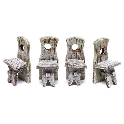 Set table with 4 chairs for Nativity scene of 10 cm 5x5x5 cm 3