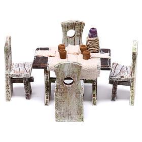 Mesa puesta con 4 sillas para belén de 10 cm 5x5x5 cm s1