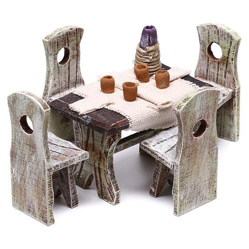 Mesa puesta con 4 sillas para belén de 10 cm 5x5x5 cm 2