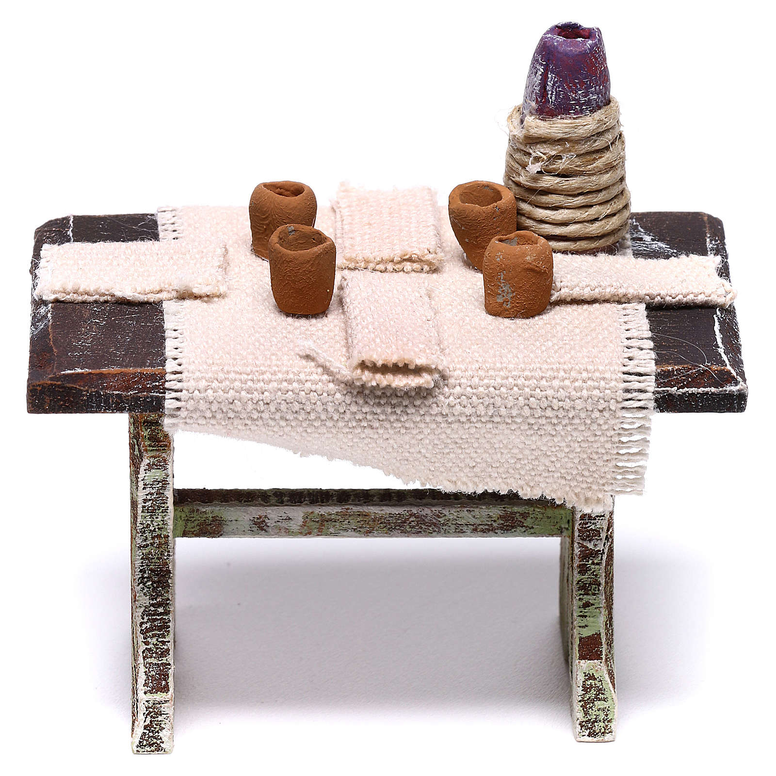 Table dressée avec 4 chaises pour crèche de 10 cm 5x5x5 cm 4