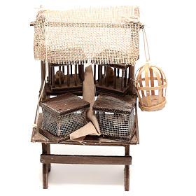 Presépio Napolitano: Banca vendedor de gaiolas 15x5x5 cm para presépio napolitano com figuras de 16 cm de altura média