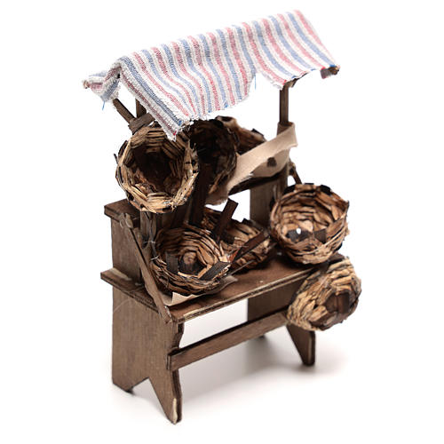 Mostrador vendedor de cestas de 15x5x5 cm belén napolitano 14 cm 3