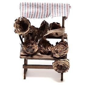 Presépio Napolitano: Banca vendedor de cestas 15x5x5 cm para presépio napolitano com figuras de 14 cm de altura média