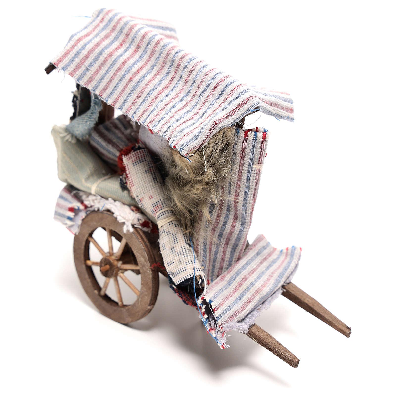 Charrette vendeur de tapis 15x15x5 cm crèche napolitaine 14 cm 4