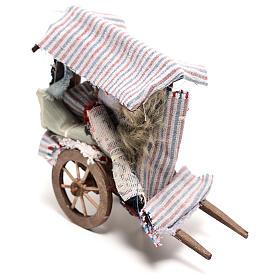 Charrette vendeur de tapis 15x15x5 cm crèche napolitaine 14 cm s2