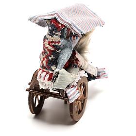Charrette vendeur de tapis 15x15x5 cm crèche napolitaine 14 cm s4