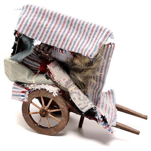 Charrette vendeur de tapis 15x15x5 cm crèche napolitaine 14 cm 1