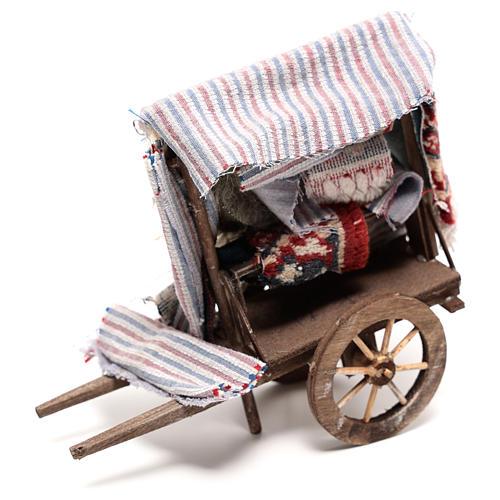 Charrette vendeur de tapis 15x15x5 cm crèche napolitaine 14 cm 3
