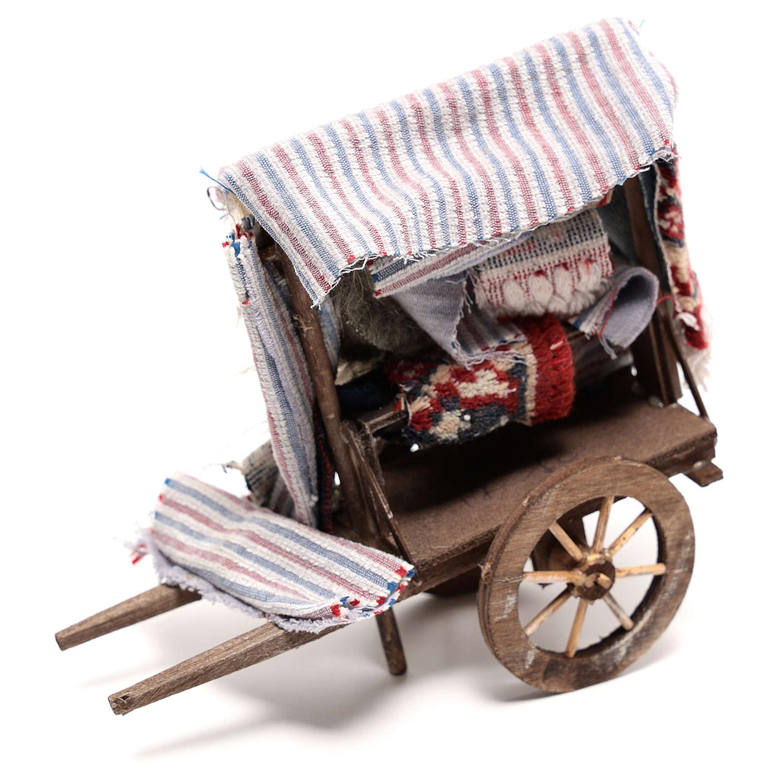 Carro venditore di tappeti di 15x15x5 cm presepe napoletano 14 cm 4