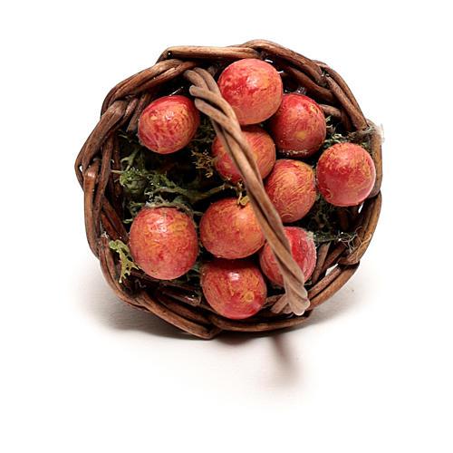 Basket with apples for Neapolitan Nativity scene of 12 cm 2