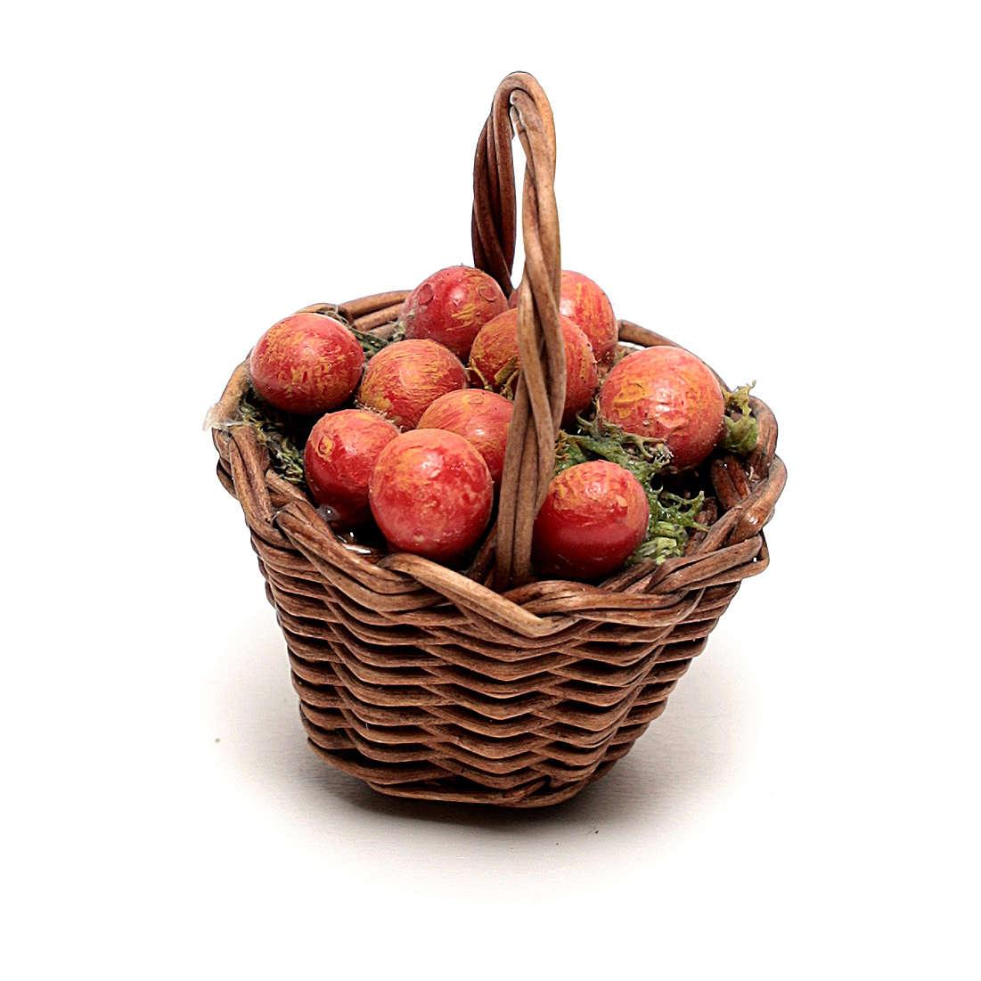 Cesta con manzanas para belén napolitano de 12 cm 4
