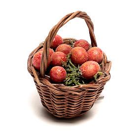 Presépio Napolitano: Cesta com maçãs para presépio napolitano com figuras de 12 cm de altura média